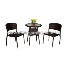 3 piece Patio en osier Table et chaise / dinant l'ensemble