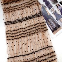 Nouveaux produits 100% polyester à pois élastiques en maille à pois broderie en dentelle floquée tulle tissu