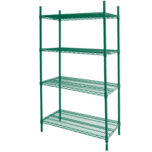CE certificated Hanging wire shelf Green epoxy wire shelving French wire shelves