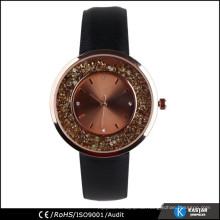 Original echtes Leder Uhr, schlanke Stein Quarzuhr