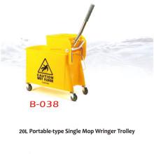 24L/32L/36L Single Mop Wringer Trolley Household Hotel Used Plastic Mop Wringer Bucket