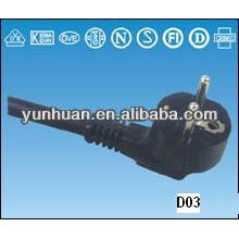 Кабель провод uni-schuko штекер прямой угловой