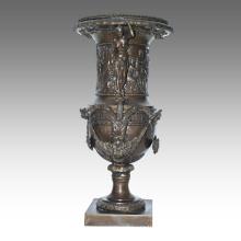 Vase Statue Déesse Pot De Fleurs Décoration Bronze Sculpture TPE-1039