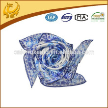 Blue And White Color Square China Silk Scarf