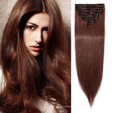 """Wholesale 100% Human Virgin Brazilian Remy Clip in Hair Extension 24"""" Straight Style All Colors"""