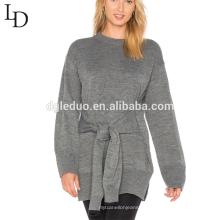 Novo design outono oversized camisola longa cinza mulheres