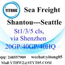 Service de camionnage de Shantou à Seattle