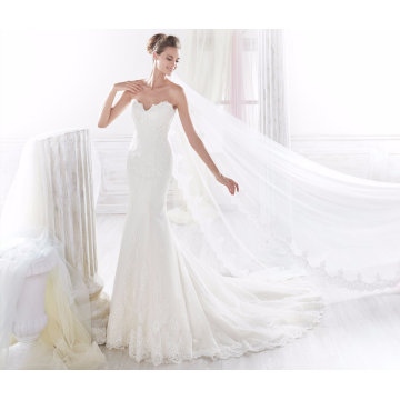 Mermaid Lace Strapless Evening Bridal Wedding Gown