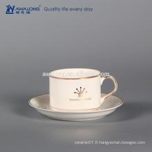 Tasse de lego, tasse à thé en gros de la Chine osseuse, set de café plaqué or