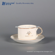 Copo de lego, copo de chá por atacado da porcelana, conjunto chapeado ouro do café