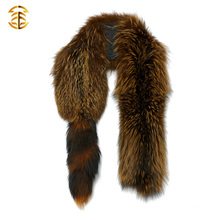 New Style Real Raccoon and Fox Fur Long Scarf Dyed Fox Fur Collar