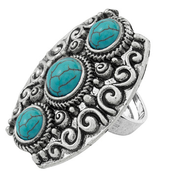 Women's Fashion 3PCS Round beads  Zircon Synthetic Turquoise Ring
