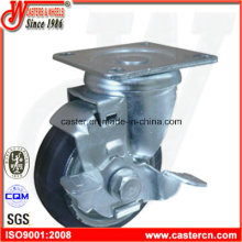 4 Inch Black Rubber Swivel Castor with Side Brake