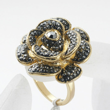 Hot Selling New Arrival Royal hematite crystals Rose Flowers rhinestone Paved metal alloy finger Rings For Women