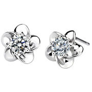 Sterling Silver Stud Earrings, 925 Silver Earring Silver Jewelry Plum Blossom, OEM Orders Welcomed
