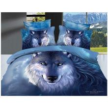 100% Baumwolle 40s 133 * 72 reaktive gedruckte Wolf 3d Bettwäsche