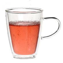 Caneca de vidro personalizada de parede dupla para o chá de hortelã-pimenta