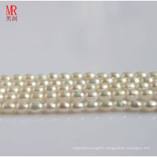 8-9mm White Rice Shape Freshwater Pearl Strands