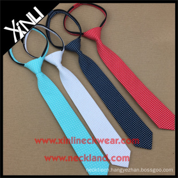 Perfect Neck Knot Elastic Zipper Polyester Mens Short Neckties