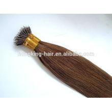 20 pouces cheveux humains brésiliens brun couleur nano anneau cheveux pré cheveux collés