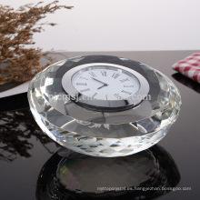 Reloj de cristal cristalino original de la forma redonda para la decoración