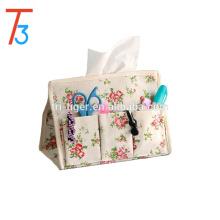 Eco-friend Cotton Blend Linen Multi-fonction Tissue Box Cover Paper Holder Storage Bag