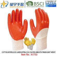 Algodón Interlock Shell Nitrilo guantes de trabajo de seguridad recubiertos (N1703)