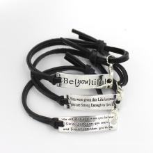 Personalizado em aço inoxidável pulseira de couro moda jóias
