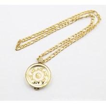Medallón de monedas chapado en oro Collar medallón flotante
