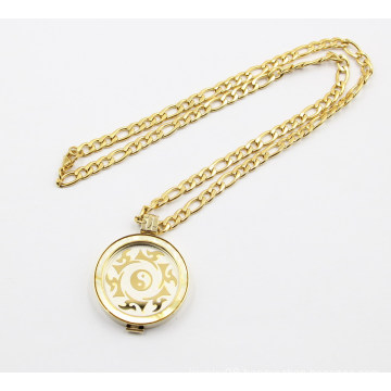 Gold Plating Coin Badge Floating Locket Necklace