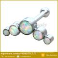 316L Surgical Steel 5 Opal Gems Jeweled Ear Tragus Helix Cartilage
