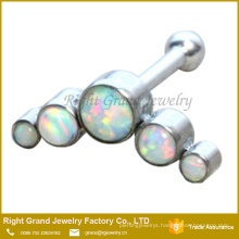 316L Surgical Steel 5 Opal Gems Jeweled Ear Tragus Helix Cartilage