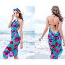 2017 novo design indiano indonésia estilo floral chiffon bali sarong multi cor dual uso praia pareo