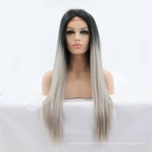 """24 """"longo ombre tom raiz escura em linha reta peruca sintética do laço senhoras moda resistente ao calor peruca sintética do laço"""