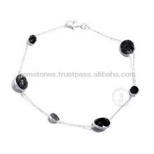 Bracelet en pierre plaqué argent à la main et à la main à la main en gros