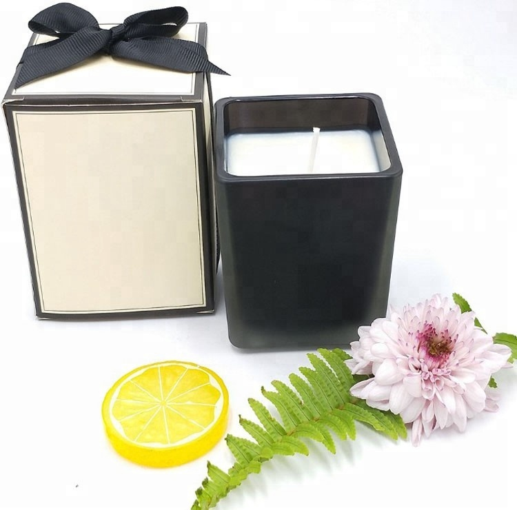 Natural Soy Wax Scented Black Square Glass 4