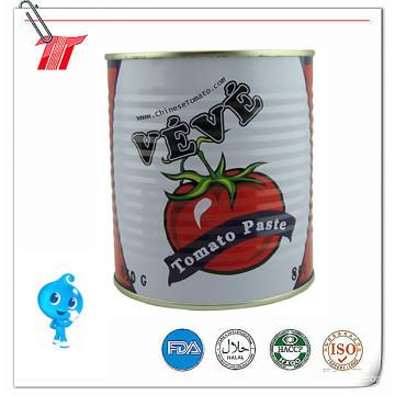 Pasta de tomate enlatada de marca Veve 850g de alta qualidade