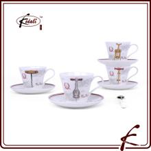 Decalque, padrão, cerâmico, copos, saucers, café, chá