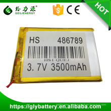 factory price size 486789 lithium polymer battery 3.7v 3500mah with high capacity made in china