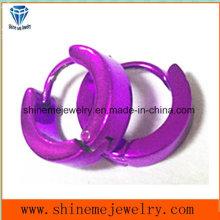 Stainless Steel Classic Style Jewelry Purple Earrings