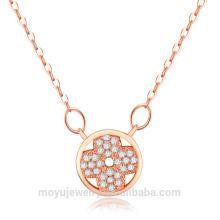 Micro pave cz pierres bouton pendentif simple collier simple 2015
