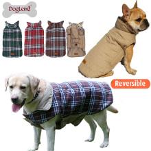 Reversível Inglaterra Verificado Design Inverno Vestuário Esporte Pet Dog Jacket