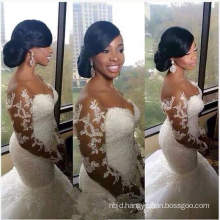 2017 New Luxury Sexy Deep V Wedding Dress China Mermaid Wedding Gown Long Sleeve