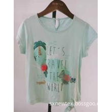 casual cotton knit front print girls top