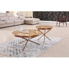 Table basse moderne en titane + marbre