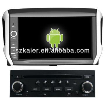 Reproductor de DVD del coche Android System para Peugeot 208 con GPS, Bluetooth, 3G, iPod, juegos, zona dual, control del volante
