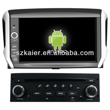 Android System lecteur dvd de voiture pour Peugeot 208 avec GPS, Bluetooth, 3G, ipod, jeux, double zone, contrôle du volant