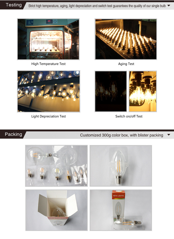led Candle filament bulb 2w
