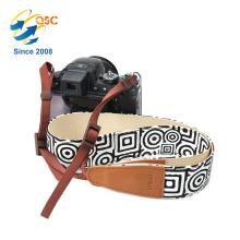 Alça de cinto de ombro de câmera de lona de estilo étnico microfiber suave com extremidades de couro