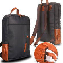 Fashion Travel Business Coated Canvas Genuine Leather Laptop Backpack Bag Manufacturer for Men Waterproof with USB Port